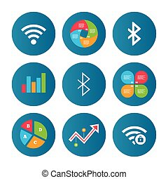 Wifi and Bluetooth icon Wireless mobile network - Business...