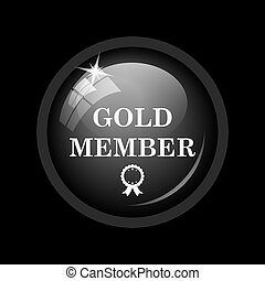 Gold member icon. Internet button on black background.