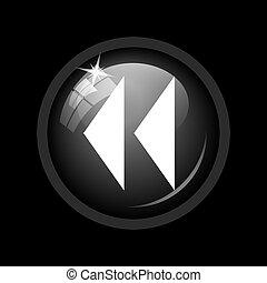 Rewind icon. Internet button on black background.