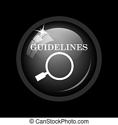 Guidelines icon. Internet button on black background.
