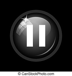Pause icon. Internet button on black background.