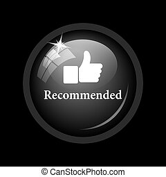 Recommended icon. Internet button on black background.