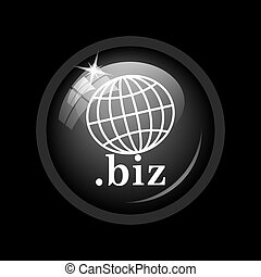 .biz icon. Internet button on black background.