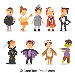 Halloween costume kids vector. - Cute kids wearing carnival...