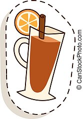 Tea cup with lemon slice cartoon vector illustration. Cup of...