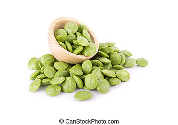 Parkia speciosa seeds or bitter bean on white background -...