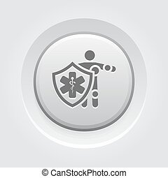 Life Insurance Icon. Grey Button Design. Isolated...