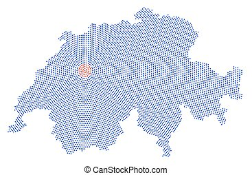 Switzerland map radial dot pattern. Blue dots going from the...