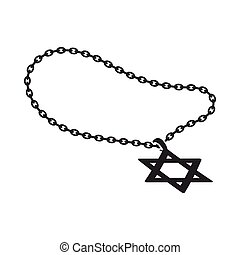 Star of David icon in black style isolated on white...