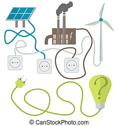 Renewable energy sources choosing concept