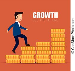 concept growth success businessman walk stairs coins