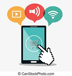 smartphone cyber monday shop cart commerce