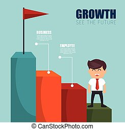 businesman see the future success vector illustration eps 10