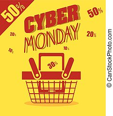 cyber monday basket cellphone discount yellow background