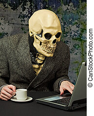 Terrible person - skeleton uses Internet - The terrible...