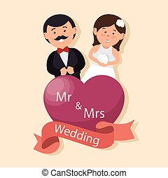 wedding card happy couple with heart mr mrs design graphic