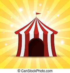 circus tent red and white shine background vector...