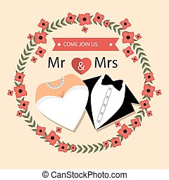wedding card with flower and suit and bridal gown design graphic
