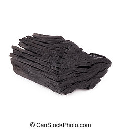 Natural wood charcoal Isolated on white, traditional...