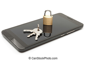 Mobile phone security and data protection concept....