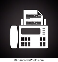 Fax icon. Black background with white. Vector illustration.