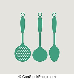 Ladle set icon. Gray background with green. Vector...
