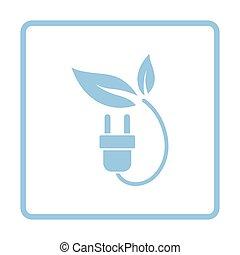 Electric plug leaves icon. Blue frame design. Vector...