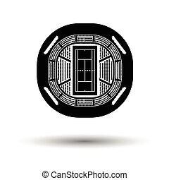 Tennis stadium aerial view icon. White background with...
