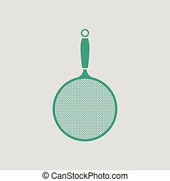 Kitchen colander icon. Gray background with green. Vector...