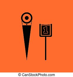American football sideline markers icon. Orange background...