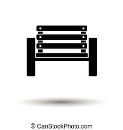 Tennis player bench icon. White background with shadow...