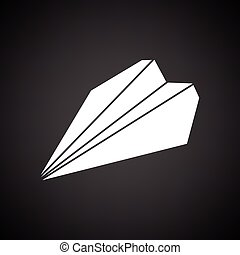 Paper plane icon. Black background with white. Vector...