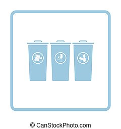 Garbage containers with separated trash icon. Blue frame...