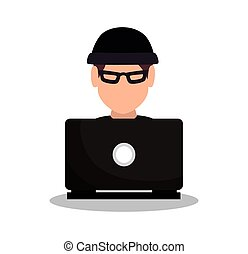 hacker attack system security intruder vector illustration...