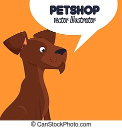 pet shop brown doggy and bubble speech design graphic vector...