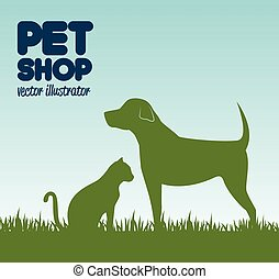 gree silhouette dog cat and grass, pet shop icon design...
