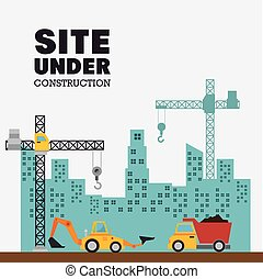 site under construction with building and machinery