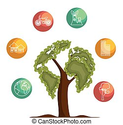 tree icon ecology save the world
