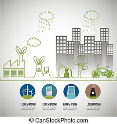 environmental issues infographic elements vector...