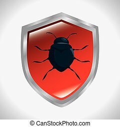 shield protection informatic virus vector illustration eps...