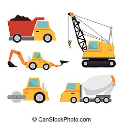 collection truck construction concept design vector...