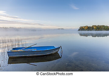 Rowboat on a Misty Lake in Autumn - Ontario, Canada - Blue...