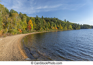 Sandy Shoreline of a Lake in Autumn - Ontario, Canada -...