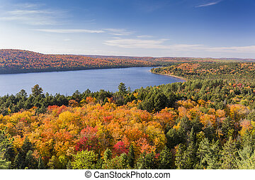 Elevated View of Lake and Fall Foliage - Ontario, Canada -...