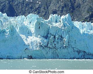 glaciar, bahía, escena,  Alaska
