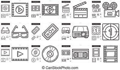 Cinema line icon set. - Cinema vector line icon set isolated...