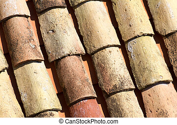 Old clay roof tiles of Dubrovnik