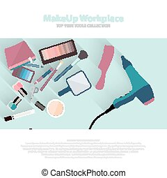 Beauty and makeup cosmetics pattern with make up artist...