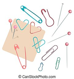 Set of different pins in colors. Colorful thumbtacks. Top view. Isolated on white background. Vector illustration