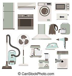 Group of household appliances - Set of flat household...